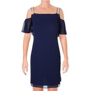 NWT Blue Chiffon Rhinestone Cold Shoulder Dress